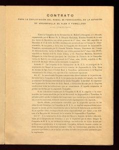 Contrato de explotación del Ferrocarril de Argamasilla-Tomelloso por la Compañía de Ferrocarriles MZA.