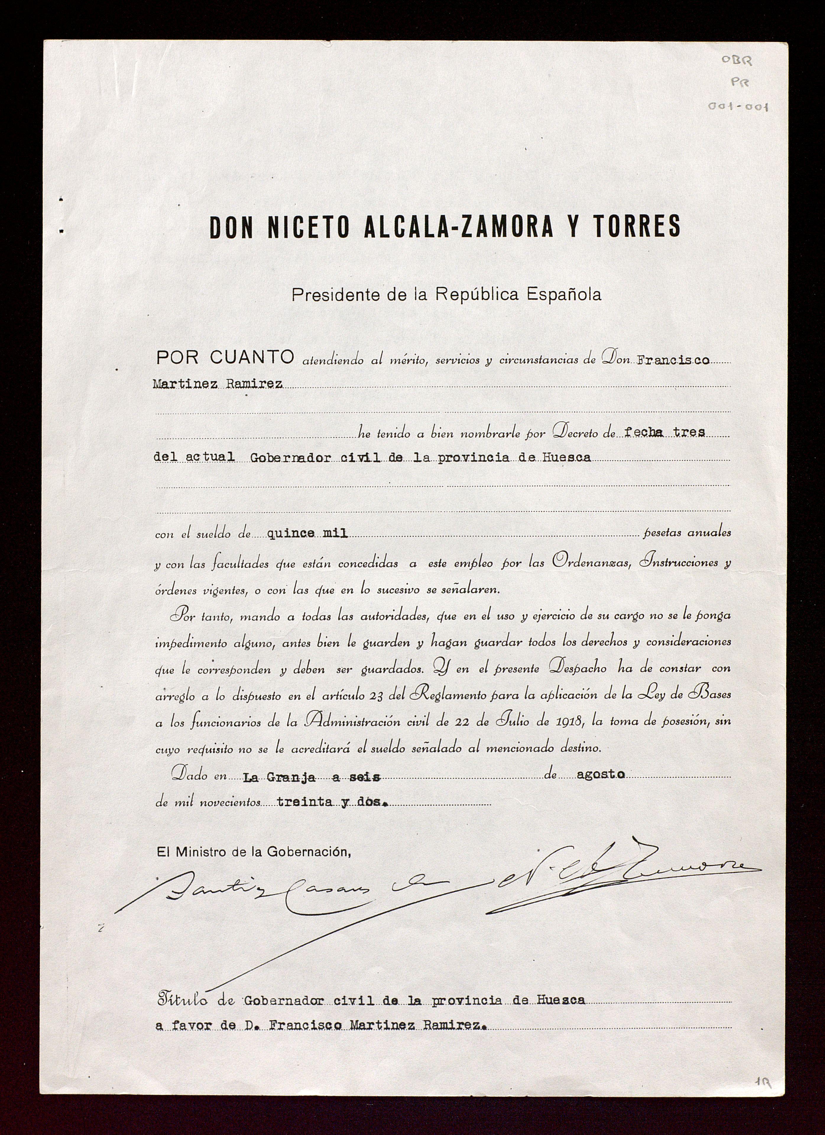 Expediente personal de Francisco Martínez Ramírez de su etapa como Gobernador