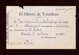 """Hoja de suscripción al periódico """"El Obrero de Tomelloso"""""""
