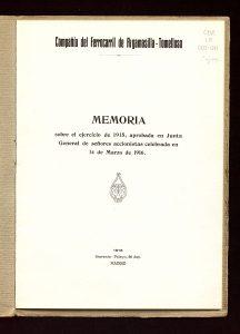 Memoria de la Compañía del Ferrocarril de Argamasilla-Tomelloso (1916)