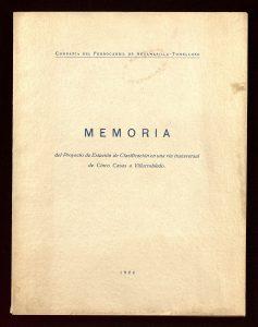 Memoria para la construcción de un triage en la vía transversal de Cinco Casas a Villarrobledo (1924).