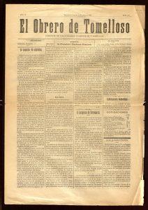 """Número 121 del periódico """"El Obrero de Tomelloso"""""""