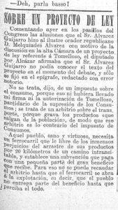 Artículo donde se menciona el arbitrio especial concedido al Ayuntamiento de Tomelloso.