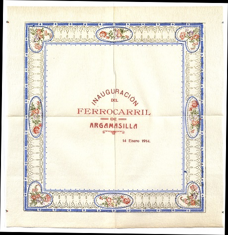 Servilleta de la inauguración del ferrocarril de Argamasilla (1914)